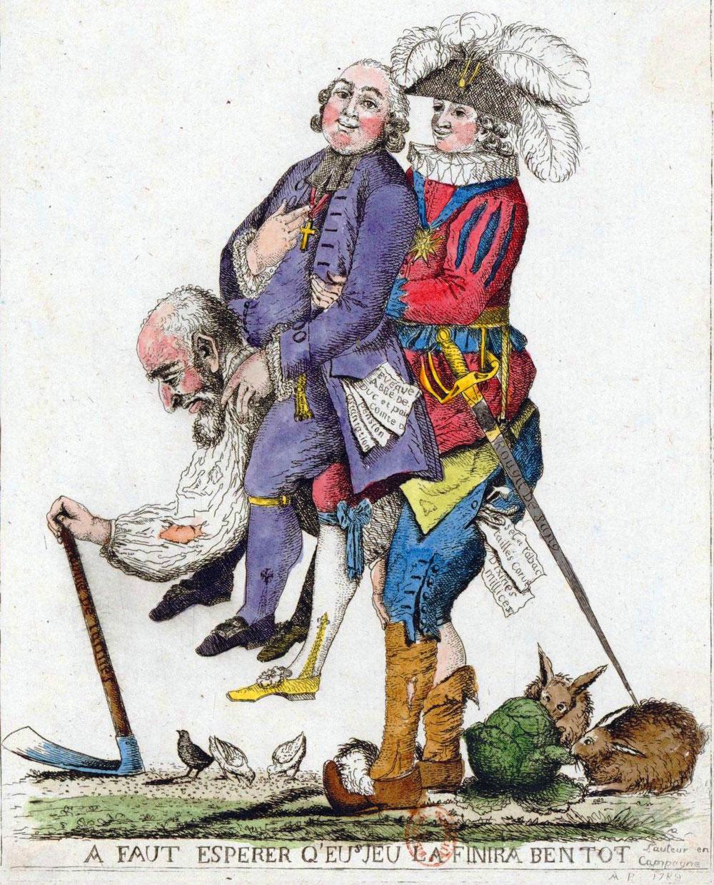 Caricature des trois ordres de l'Ancien régime © Gallica Bnf