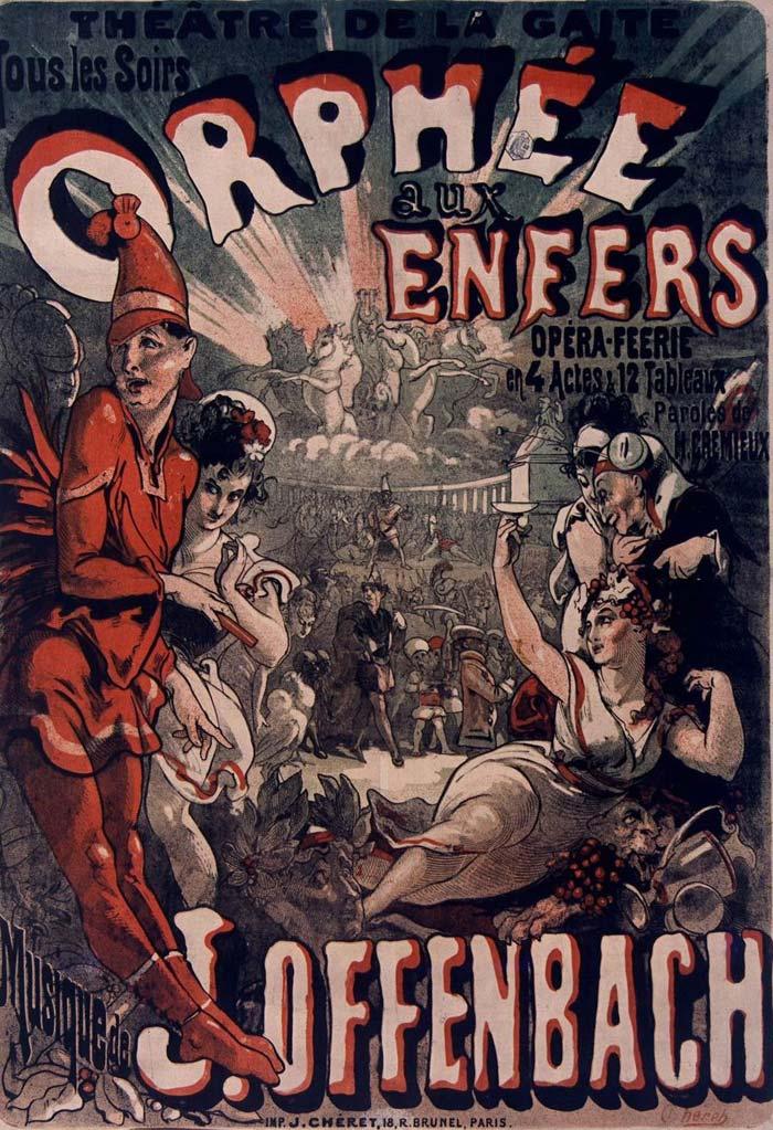 Affiche pour Orphée aux Enfers de Offenbach (Théâtre de la Gaïté) © Gallica BnF