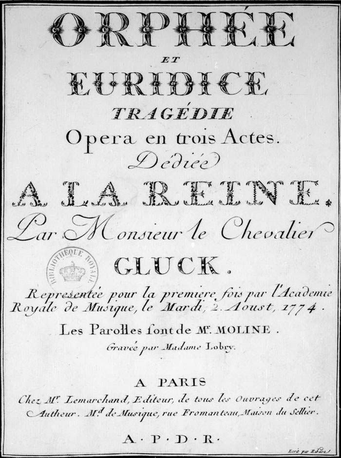 Page de presentation de Orphée et Eurydice de Gluck © Gallica BnF