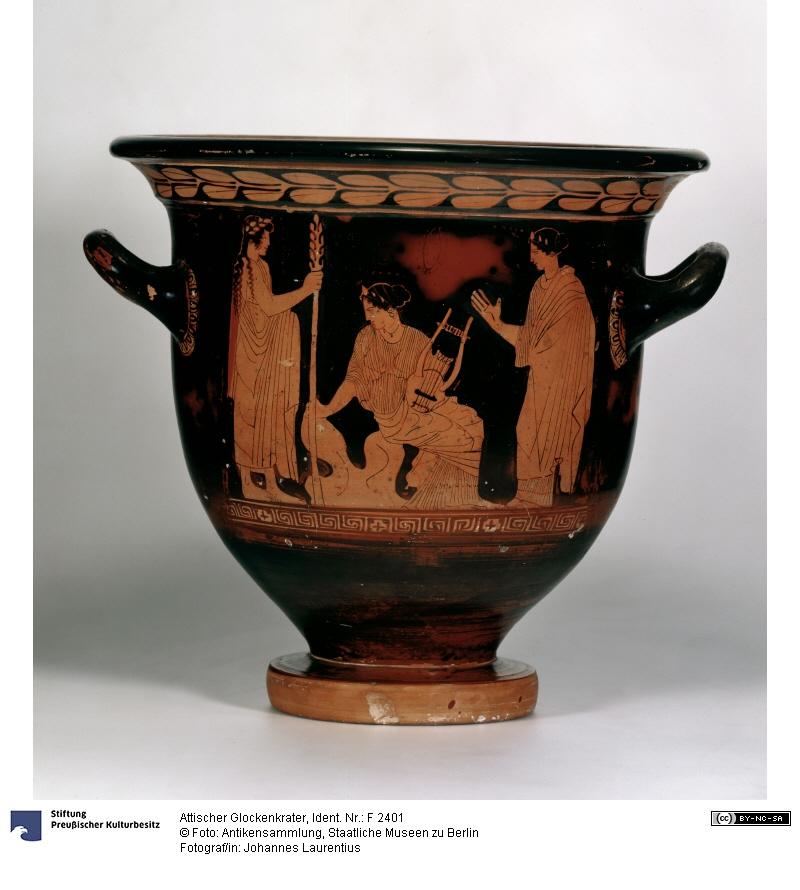 <p>1- Orphée jouant de la lyre parmi les guerriers thraces, vers 440 av. J.C.<br/><span>Cratère attique © Staatlichen Museeum de Berlin - Photographe : Johannes Laurentius</span></p>