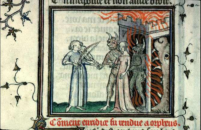 <p>4- Eurydice rendue à Orphée aux enfers, vers 1385<br/><span>Manuscrit <em>Métamorphoses</em> (Ms 742, f. 166v) © Bibliothèque municipale de Lyon - CC</span></p>