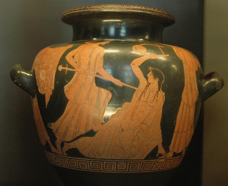 <p>2- Mise à mort d'Orphée, 460 av. J.C.<br/><span>Stamnos attique à figures rouges © Musée du Louvre - Photographe : Marie-Lan Nguyen</span></p>