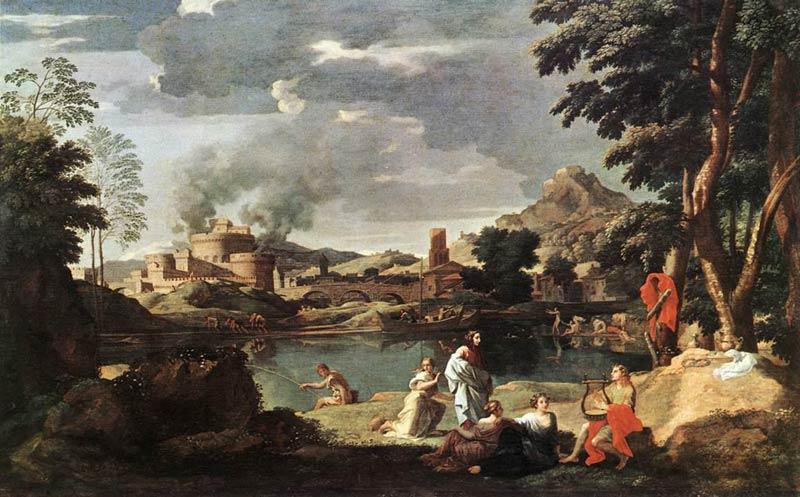 <p>7- Nicolas Poussin, <em>Paysage avec Orphée et Eurydice</em>, 1648-1650<br/><span>© RMN - Musée du Louvre</span></p>