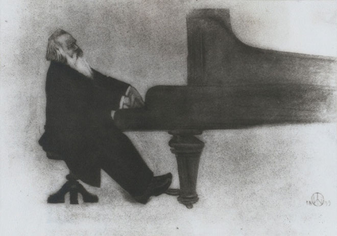 Brahms au piano, par Willy von Beckerath, 1899 © NY Public Library, digital collections