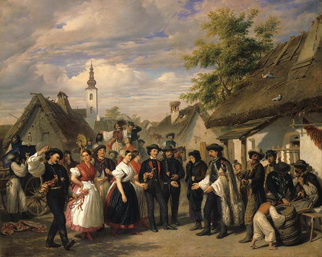 L'Arrivée de la mariée, peinture de Miklós Barabás, 1856. Galerie nationale hongroise