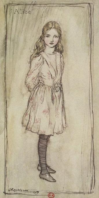 Alice, par Arthur Rackham, les aventures d'Alice au pays des merveilles de Lewis Carroll, 1908 © Gallica BnF