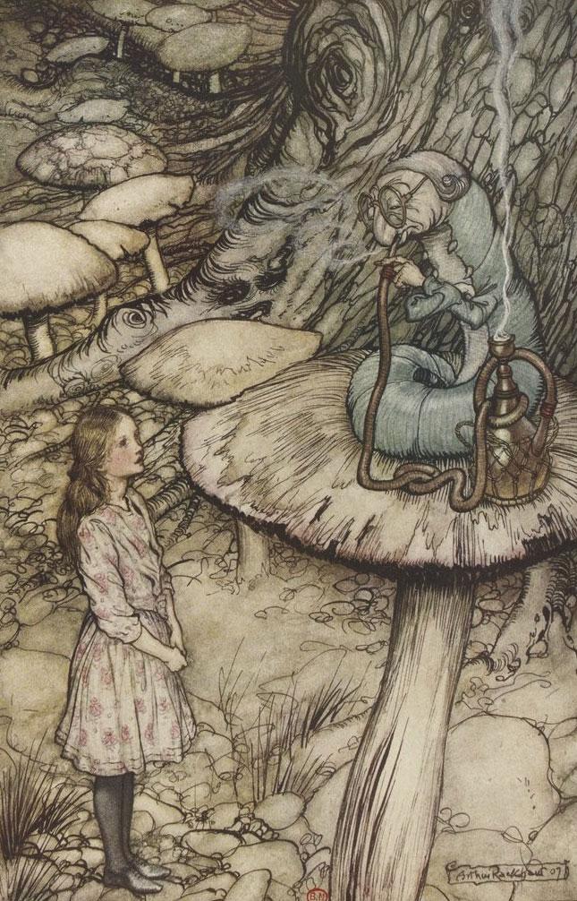 Alice et La Chenille par Arthur Rackham, les aventures d'Alice au pays des merveilles, 1908 © Gallica BnF