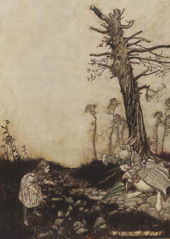 Illustration par Arthur-Rackham, Alice et le lapin, Aventures d'Alice au pays des merveilles de Lewis Carroll, 1908 © Gallica BnF