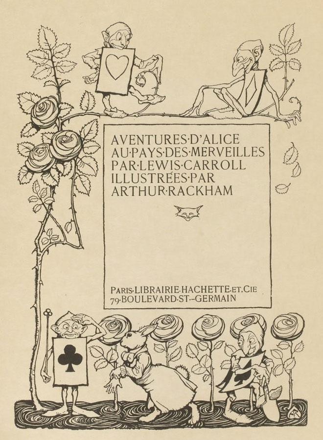 Illsutrations par Arthur Rackham, Aventures d'Alice au pays des merveilles de Lewis Carroll, 1908 - [Détail] © Gallica BnF