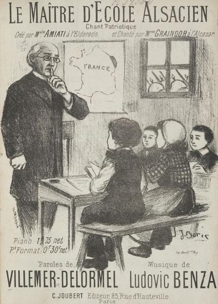 Page de garde de la chanson Le Maître d'école alsacien © Bibliothèque nationale et universitaire de Strasbourg
