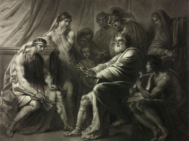 Récitation d'Homère, gravure de Peter Johann Pichler d'après une peinture de Friedrich Heinrich Fuger © Österreichische Nationalbibliothek