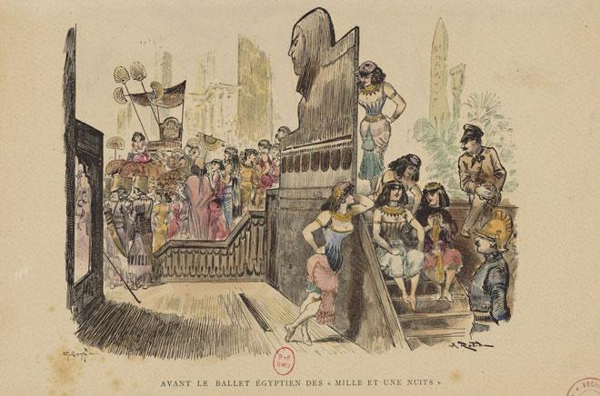 Avant le ballet égyptien des Mille et une nuits, estampe Guillaume F., Robida A., la vie élégante, 1881 © Gallica - BnF