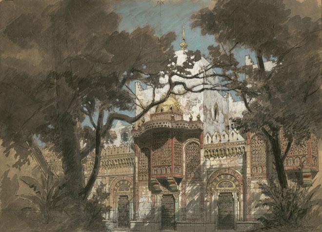 Les Mille et une nuits, esquisse de décor, Philippe Chaperon, 1881 © Gallica - BnF