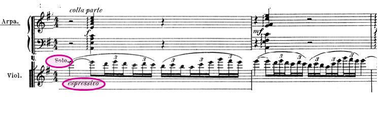 Exemple : Entrée du thème de Shéhérazade au violon solo