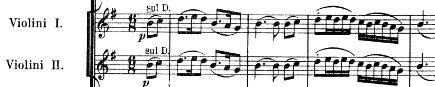 Exemple : Thème du 3e mouvement énoncé aux violons