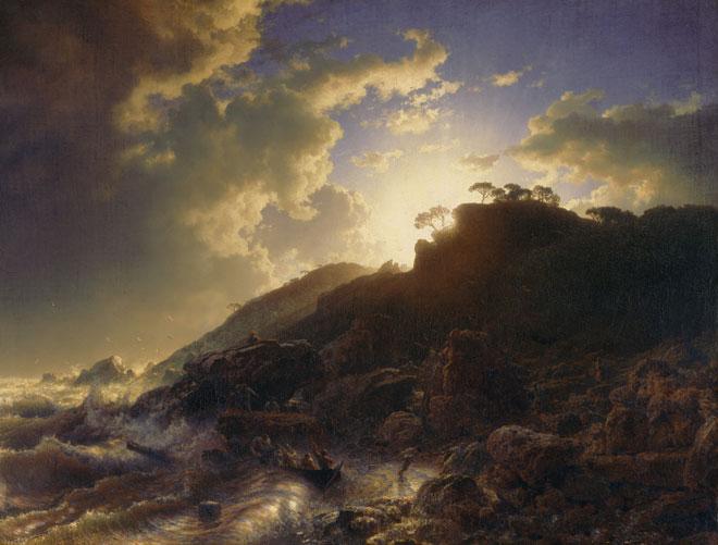 Coucher de soleil après une tempête sur la côte sicilienne, par Andras Achenbach, 1853 © Metropolitan Museum