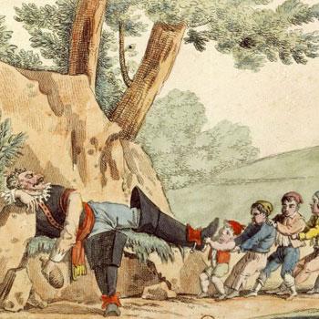 Le petit Poucet et ses frères ôtent les bottes de l'ogre©Gallica-BnF