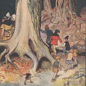 Le Petit Poucet (le bûcheron et sa femme conduisent les enfants dans la forêt), par Henry Matthew Brock © NY Public Library, digital collections