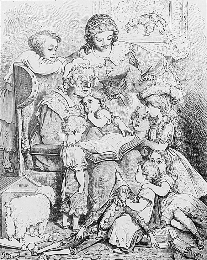 La lecture des contes en famille, illustration de Gustave Doré pour Les Contes de Perrault © Gallica-BnF