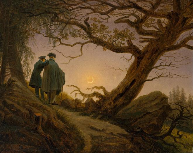Deux hommes contemplant la lune, peinture de Caspar David Friedrich, vers 1825-1830. Metropolitan Museum CC0