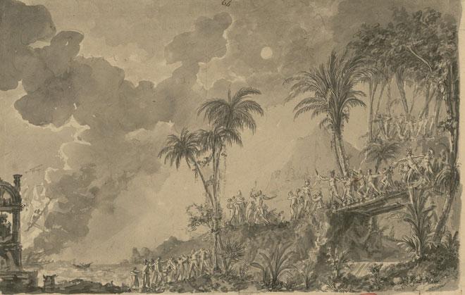 Esquisse de décor pour Les Indes galantes de Rameau (deuxième entrée: les Incas du Pérou) dessin de Ignazio Degotti © Gallica-BnF