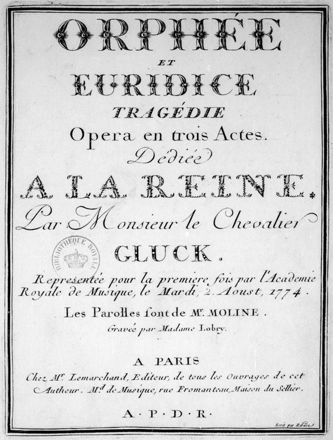 Affiche pour la représentation de Orphée et Eurydice de Gluck © Gallica-BnF
