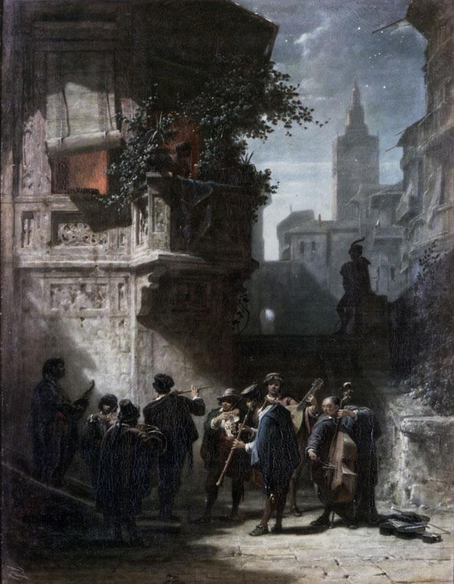 Sérénade espagnole du Barbier de Séville de Rossini, par Carl Spitzweg, 1856 © Bildarchiv Foto Marburg