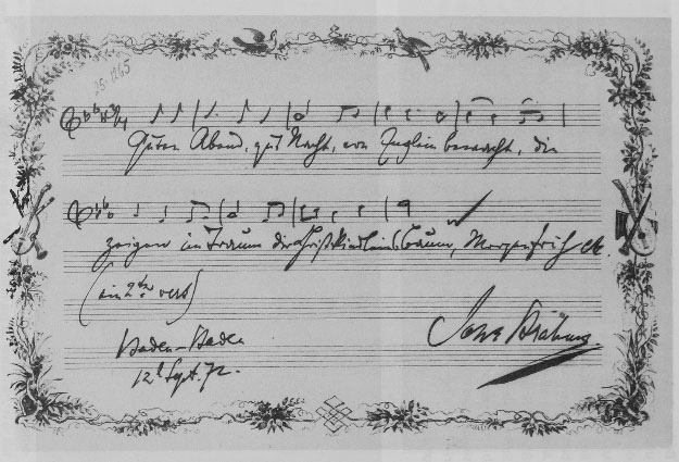Wiegenlied, page manuscrite de Brahms © Staats und Universitätsbibliothek, Hamburg