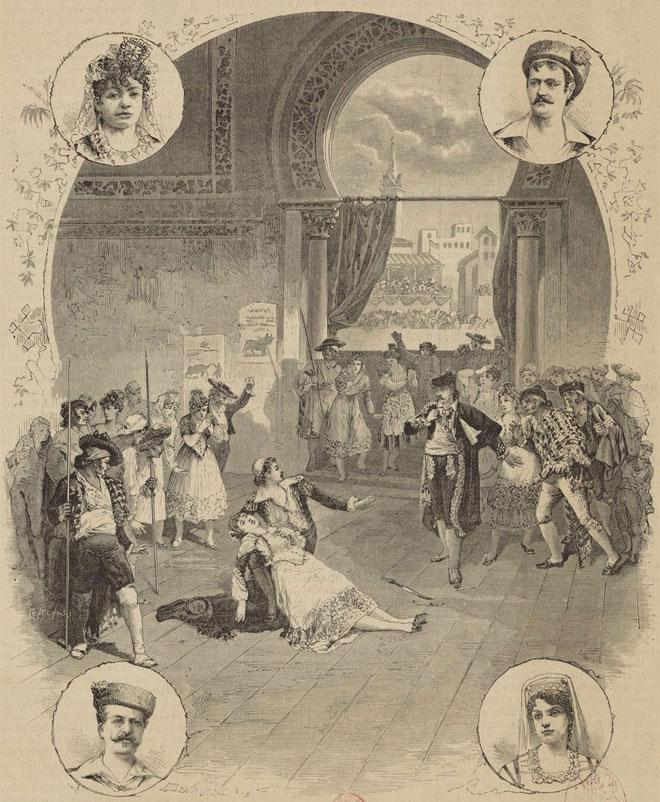 Carmen de Bizet, acte IV scène finale (estampe d'après un dessin de A. Bonamore) © Gallica - BnF