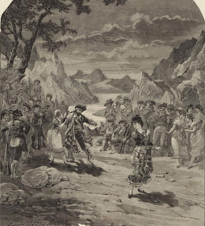 Carmen de Bizet, fin de l'acte III (gravure de Barberis d'après un dessin de A. Bonamore) © Gallica - BnF