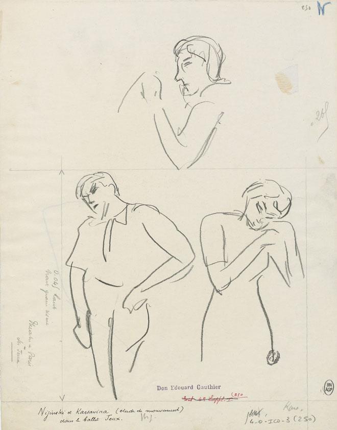 Vaslav Nijinski et Tamara Karsavina dans le ballet Jeux, dessin de Paul Charles Delaroche © Gallica-BnF