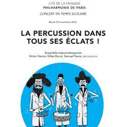 Programme du concert La percussion dans tous ses éclats