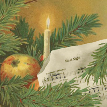 Silent Night, d'après la carte postale A Merry Christmas © NY Public Library, digital collections
