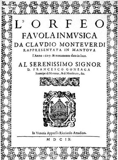 Couverture de la première édition de l'Orfeo de Monteverdi, par Ricciardo Amadino, Venise, 1609 © Biblioteca Estense Universitaria, Modena