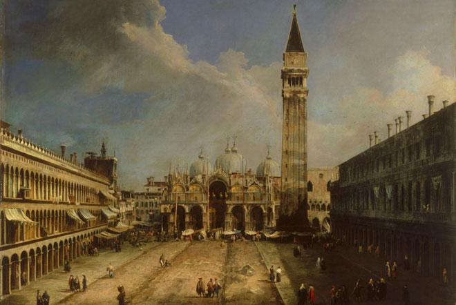 La place Saint-Marc à Venise, par Canaletto, vers 1723 © Museo Thyssen-Bornemisza, Madrid