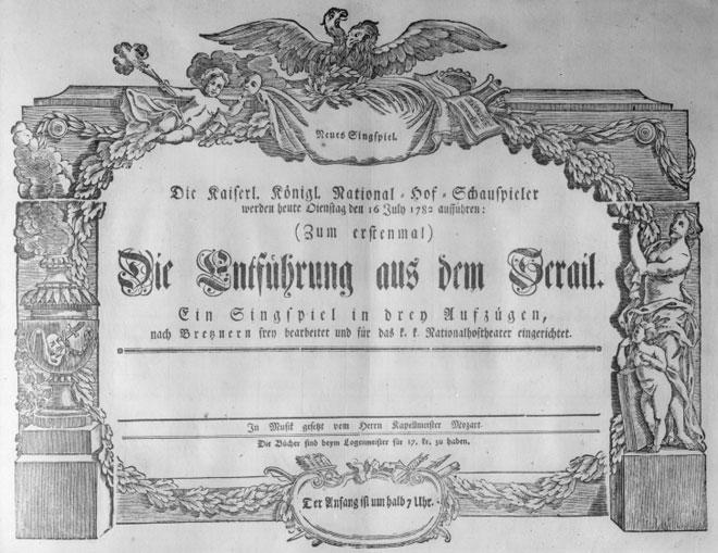 Affiche pour la première représentation de L'Enlèvement au sérail, le 16 juillet 1782 © Österreichische Nationalbibliothek