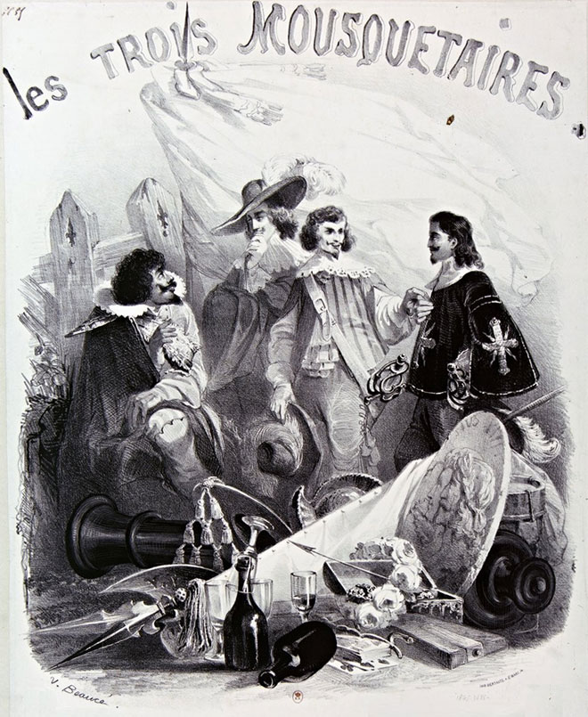 Les Trois Mousquetaires, illustration de Vivant Beaucé © Gallica-BnF
