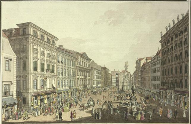 Vue du Graben à Vienne, 1781, gravure de Karl Schütz © Österrichische Nationalbibliothek
