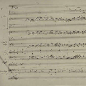 Sérénade Gran Partita, première page de l'Adagio, manuscrit autographe de Mozart © Library of Congress