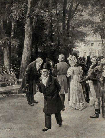 Beethoven et Goethe à Teplitz, d'après Karl Röhling © NY Public Library, digital collections