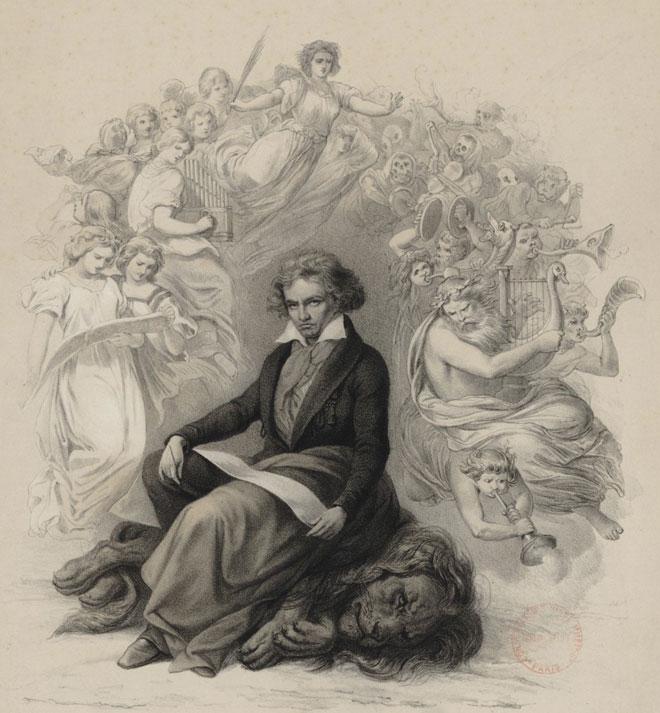 Beethoven terrassant un lion symbole de monarchie, d'après Joseph Charles Stieler © Gallica-BnF