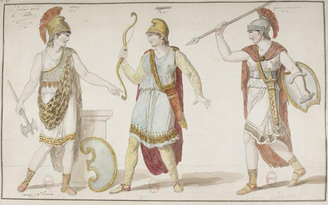 Les Amazones ou la Fondation de Thèbes, costumes de François-Guillaume Ménageot, 1811 © Gallica-BnF