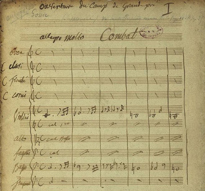Ouverture du Triomphe de la République, manuscrit autographe de Gossec © Gallica-BnF