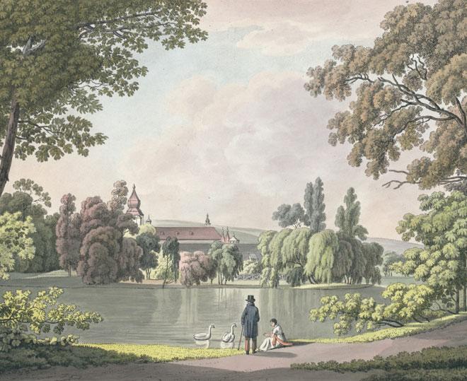 Petite Pièce d'eau du jardin de Teplitz en Bohème (détail), par Lorenz Janscha, en 1800 © Österreichische Nationalbibliothek