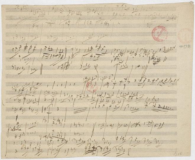 Symphonie n°9, esquisse pour le 1er mouvement, manuscrit autographe de Beethoven © Gallica-BnF