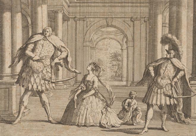 Caricature des chanteurs Senesino, Francesca Cuzzoni et Berenstadt dans l'opéra Flavio de Haendel, 1723 © NY Public Library, digital collections