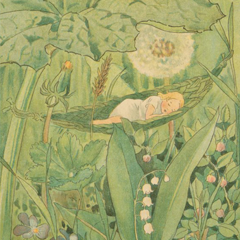 Illustration de Elsa Maartman Beskow pour le conte Poucette d'Andersen © NY Public Library, digital collection