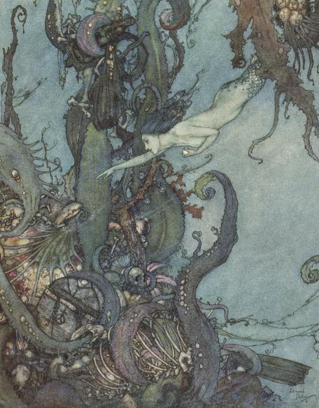 La Petite Sirène, illustration d'Edmond Dulac pour le conte d'Andersen © Gallica-BnF