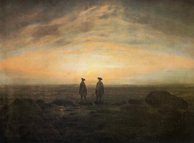 [1] <cite>Deux Hommes au bord de la mer</cite> de Caspar David Friedrich, 1817, Alte Nationalegalerie (Berlin)