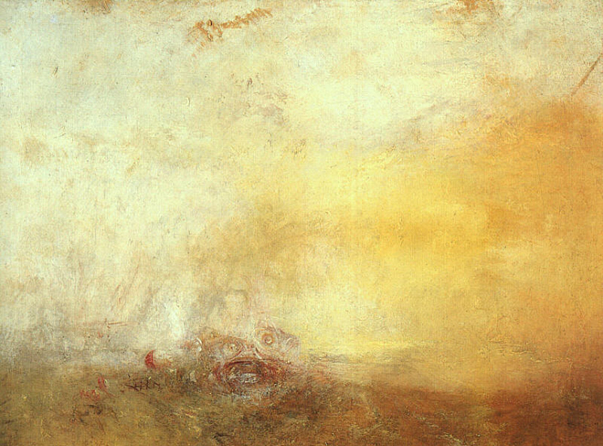[7] <cite>Lever de soleil avec monstres marins</cite> de William Turner, 1845. Tate Britain, London
